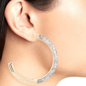 Glitter Front Large Gold Hoop Earrings- R Minkoff